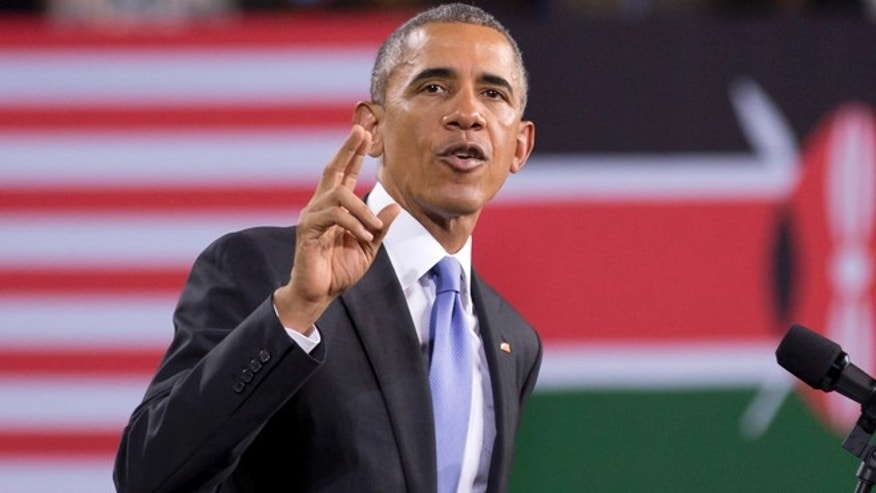 July 26, 2015: President Barack Obama delivers a speech, in front of American and Kenyan flags, at the Safaricom Indoor Arena in the Kasarani area of Nairobi, Kenya. Obama is traveling on a two-nation African tour where he will become the first sitting U.S. president to visit Kenya and Ethiopia.