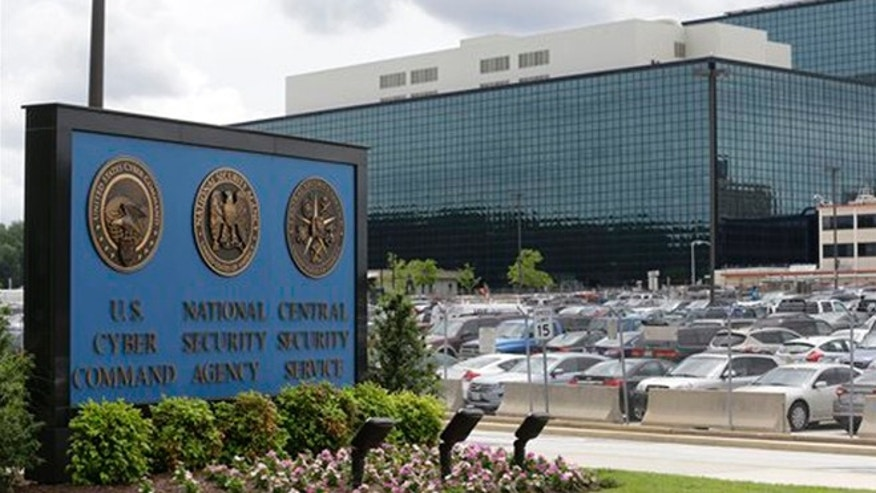 In this file photo, a sign stands outside the National Security Agency (NSA) campus in Fort Meade, Md.