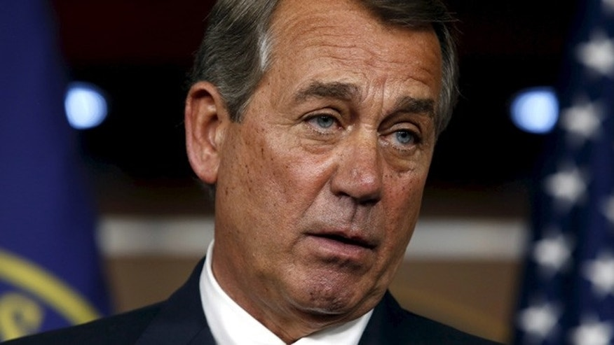 July 9, 2015: US House Speaker John Boehner, R-Ohio, speaks about an Iran nuclear deal during his weekly press briefing on Capitol Hill in Washington. (Reuters)