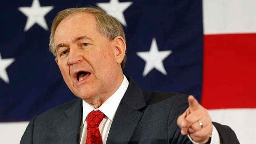 April 17, 2015: Ex-Virginia Gov. Jim Gilmore speaks at a Republican Leadership Summit in Nashua, N.H.