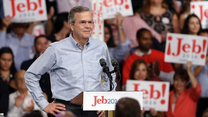In this photo taken K=June 15, 2015, former Florida Gov. Jeb Bush stands on the stage before  announcing his bid for the Republican presidential nomination, at Miami Dade College in Miami. In his first Spanish-language television network interview since launching his 2016 presidential campaign, Republican presidential candidate Jeb Bush fielded a wide range of questions, from the upcoming GOP debate to Donald Trump, from Latin American foreign policy to his taste in music, and whether he had ever experienced discrimination. (AP Photo/Lynne Sladky)