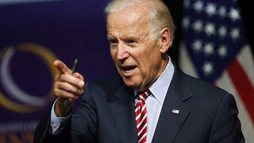 FILE - In this July 21, 2015, file photo, Vice President Joe Biden speaks during a roundtable discussion at the Advanced Manufacturing Center at Community College of Denver. (AP Photo/Brennan Linsley, File)