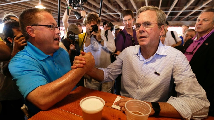 Jeb Bush, during a visit to the Iowa State Fair, Friday, Aug. 14, 2015, in Des Moines, Iowa.