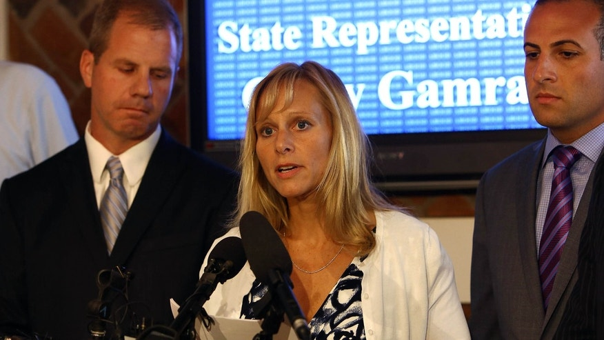 Aug. 14, 2015: Representative Cindy Gamrat addresses the media with an apology at Abood Law Firm in Lansing, Mich.