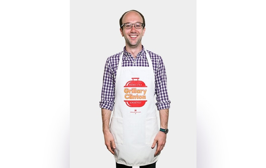 """Grill-ary Clinton"" apron ($20), complete with catchphrase ""amirite?"""