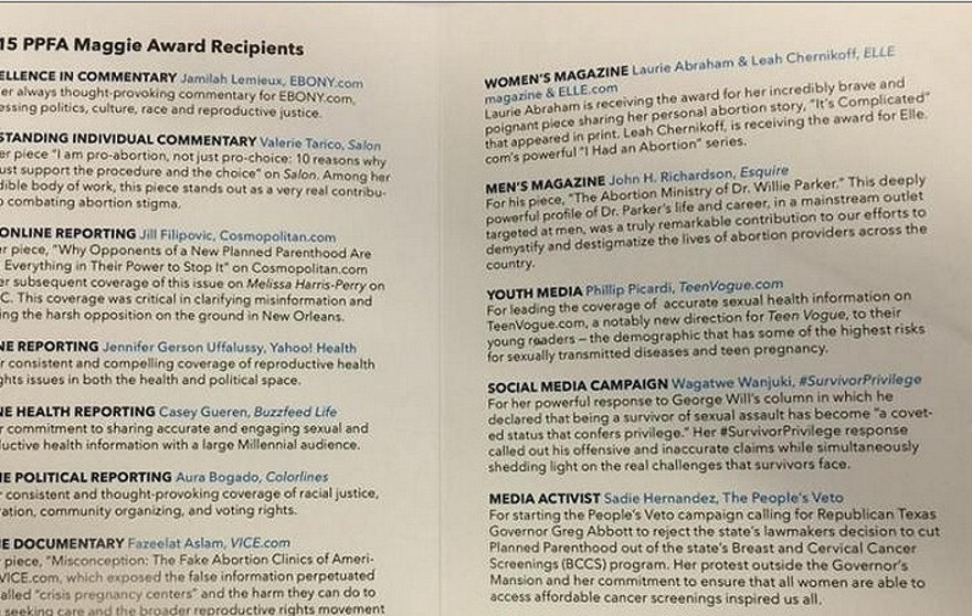 The Media Research Center obtained a copy of Tuesday's program honoring journalists friendly to Planned Parenthood's cause. (MRC)