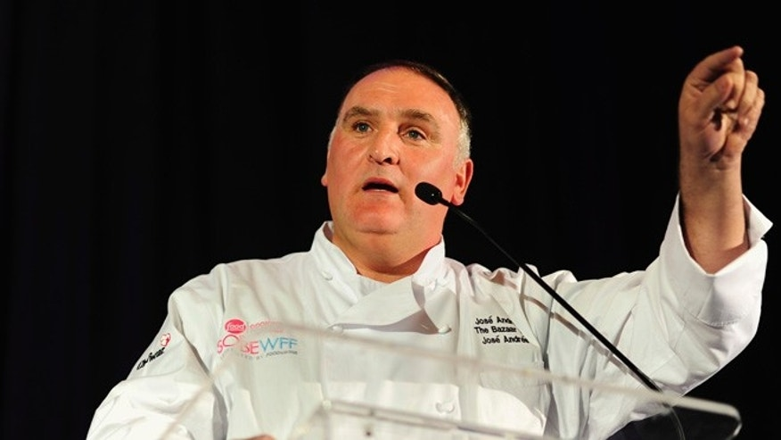 MIAMI BEACH, FL - FEBRUARY 21: Chef Jose Andres on stage at the Tribute Dinner honoring Juan Mari Arzak and Ted Baseler hosted by Jose Andres and Master of Ceremonies Harold McGee presented by Bank of America - Part of The New York Times Dinner Series during the 2015 Food Network & Cooking Channel South Beach Wine & Food Festival presented by FOOD & WINE at Loews Miami Beach Hotel on February 21, 2015 in Miami Beach, Florida.  (Photo by Sergi Alexander/Getty Images For SOBEWFF)