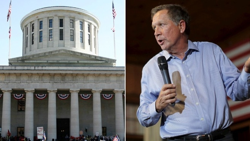 At left; the Ohio Statehouse. At right, Ohio Gov. John Kasich. (Reuters)