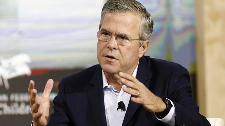 FILE - In this Aug. 19, 2015 file photo, Republican presidential candidate and former Florida Gov. Jeb Bush, speaks in Londonderry, N.H. (AP Photo/Jim Cole, File)