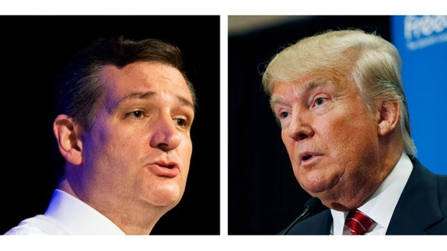 Republican presidential candidates Sen. Ted Cruz, R-Texas and Donald Trump.