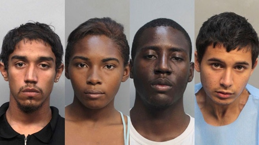 Job Corps students (from left to right) Kaheem Arbelo, Desiray Strickland, Jonathan Lucas and  Christian Colon have been arrested and charged in the death of classmate Jose Amaya Guardado. They are accused of attacking  Guardado with a machete, throwing his body in a shallow grave and setting it on fire.
