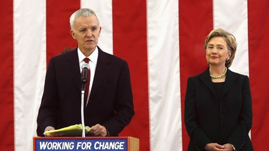 In this Dec. 16, 2007 file photo, former Sen. Bob Kerrey introduces Hillary Clinton during a campaign stop in Council Bluffs, Iowa.