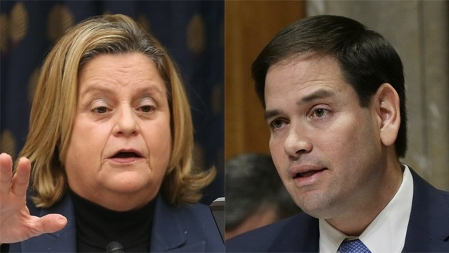 Rep. Ileana Ros-Lehtinen (L) and Sen. Marco Rubio (R), both of Florida, want the Obama administration to take a harsher stance towards Venezuela following the jailing of opposition leader Leopoldo López.