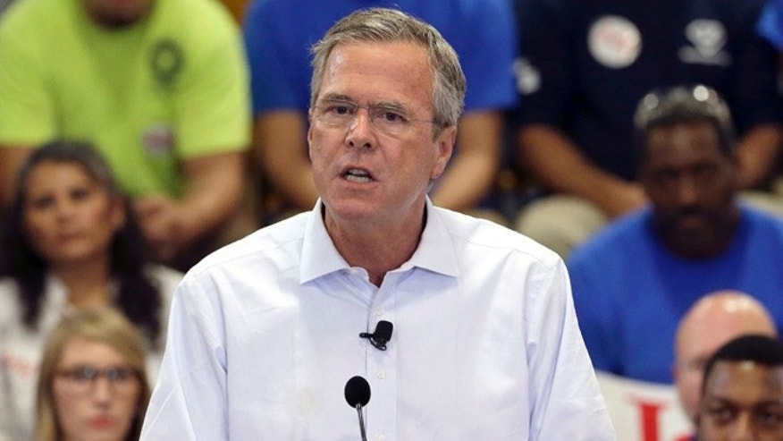 Sept. 9, 2015: Republican presidential candidate, former Florida Gov. Jeb Bush, details his tax reform plan in a speech at Morris & Associates in Garner, N.C. (AP)