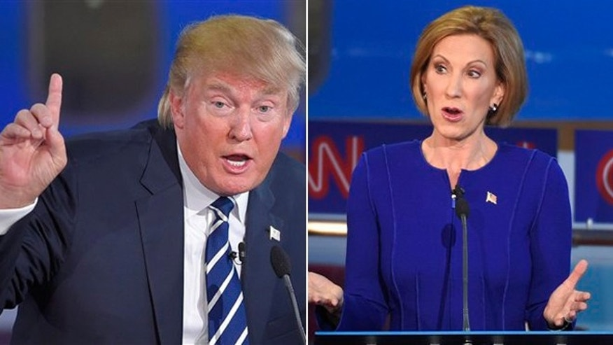 Republican presidential candidates Donald J. Trump and Carly Fiorina are shown in this AP composite.
