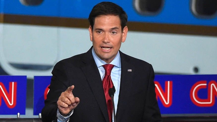 Republican presidential candidate, Sen. Marco Rubio, R-Fla., speaks during the CNN Republican presidential debate at the Ronald Reagan Presidential Library and Museum on Wednesday, Sept. 16, 2015, in Simi Valley, Calif. (AP Photo/Mark J. Terrill)