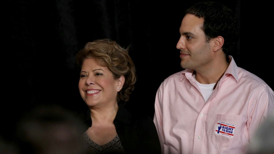 Columba Bush and her son Jeb Bush, Jr. on March 18, 2015 in Sweetwater, Florida.
