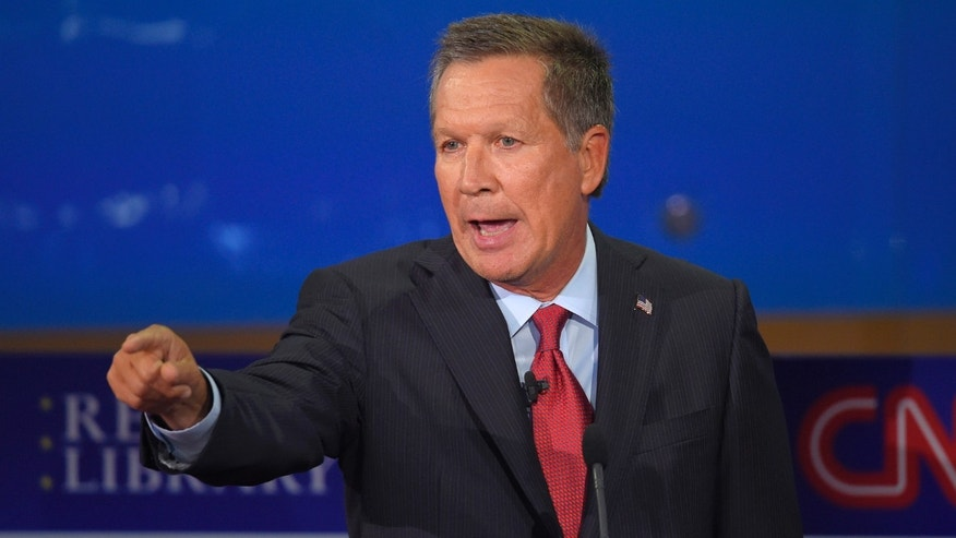 Republican presidential candidate, Ohio Gov. John Kasich speaks during the CNN Republican presidential debate at the Ronald Reagan Presidential Library and Museum on Wednesday, Sept. 16, 2015, in Simi Valley, Calif. (AP Photo/Mark J. Terrill)