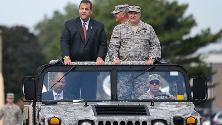 Sept. 28, 2014: New Jersey Gov. Chris Christie, left, and New Jersey Adjutant General Brig. Gen. Michael Cunniff, right, review troops during the New Jersey National Guard's annual Military Review in Sea Girt, N.J. (AP)
