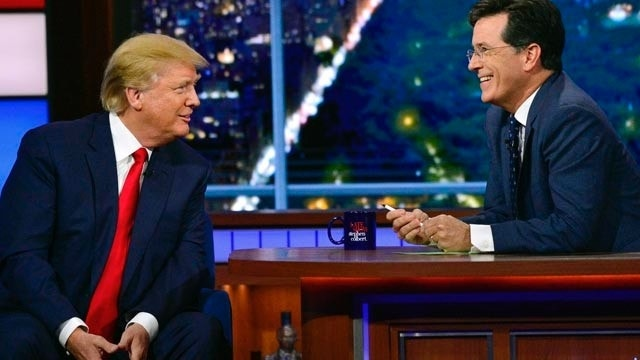 Donald Trump plays straight man to Stephen Colbert on 'Late Show'