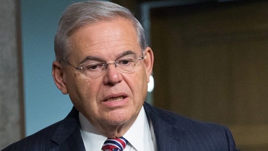 FILE - This July 23, 2015 file photo shows Sen. Bob Menendez, D-N.J., on Capitol Hill in Washington. (AP Photo/Andrew Harnik, File)