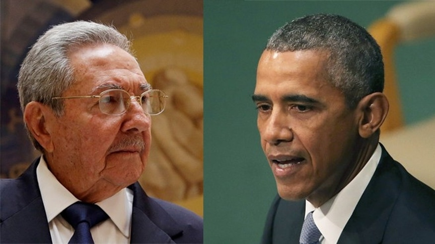 Raúl Castro (left) and Barack Obama. The two world leaders were expected to meet on Tuesday. (Photos: Castro, AP Photo/Gregorio Borgia; Obama,  Spencer Platt/Getty Images)
