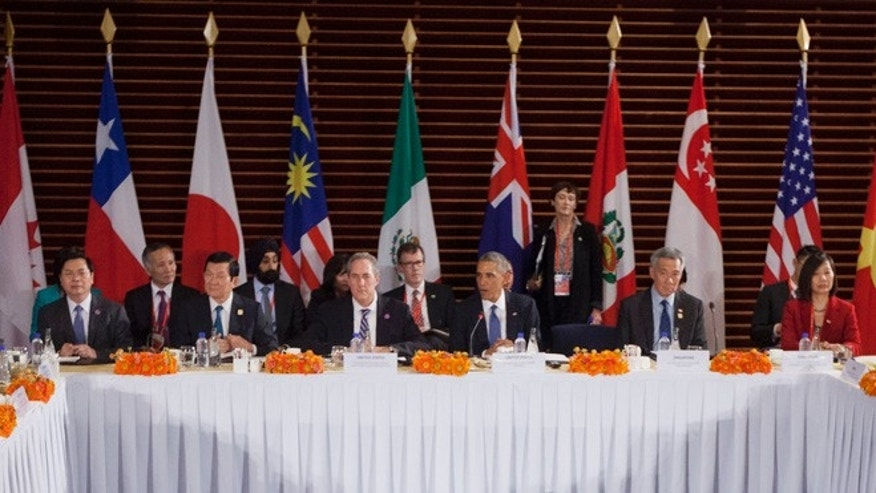 Nov. 10, 2014: U.S. President Obama, center, speaks during his meeting with leaders of the Trans-Pacific Partnership countries, in Beijing. (AP)