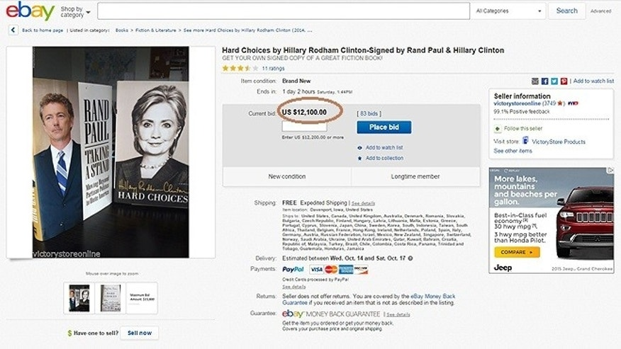 "A copy of Hillary Clinton's Memoir, ""Hard Choices"" being auctioned off by Sen. Rand Paul has garnered a $12,100 bid."