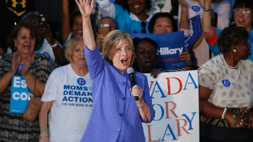 Oct. 14, 2015: Democratic presidential candidate Hillary Rodham Clinton speaks at a rally in Las Vegas. (AP)
