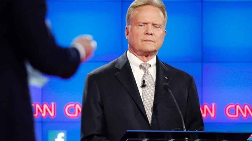 Oct. 13, 2015: Democratic presidential candidate former Virginia Sen. Jim Webb listens during the CNN Democratic presidential debate in Las Vegas. (AP)