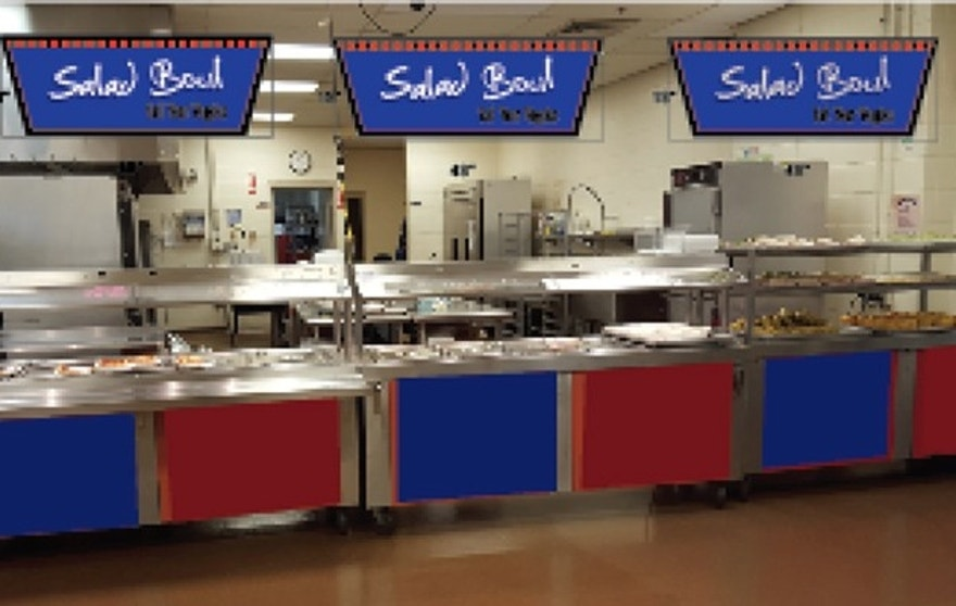 This rendering shows the salad bar that is set to open next month at Londonderry High School, where participation in the school lunch program is up 15 percent since they opted out of the federal program. (Londonderry Schools)
