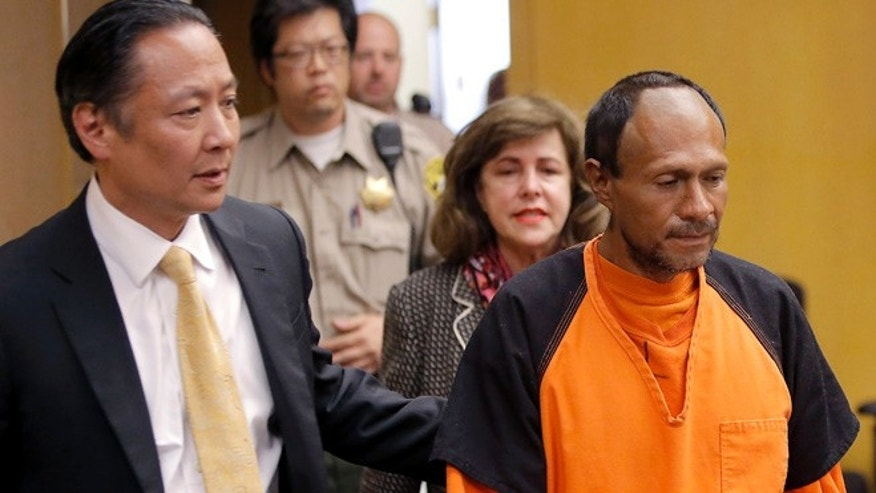 July 7, 2015: Francisco Sanchez, right, is lead into the courtroom for his arraignment at the Hall of Justice in San Francisco. He is accused of killing Kate Steinle, despite having been in police custody and ICE not having been notified of his release. (AP)