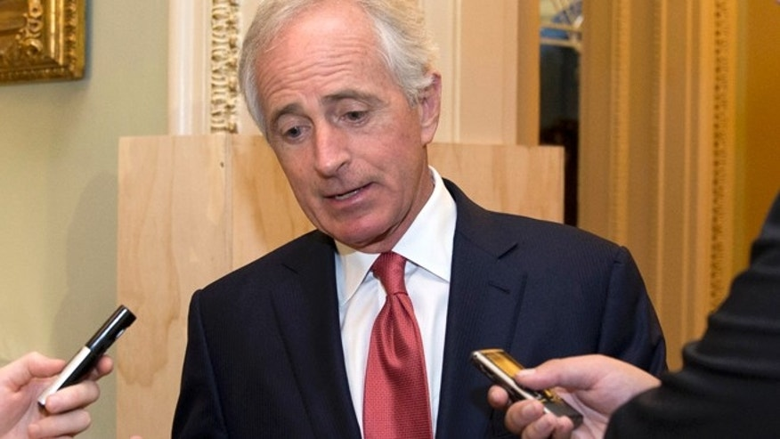 Oct. 20, 2015: Senate Foreign Relations Committee Chairman Sen. Bob Corker, R-Tenn., talks with reporters on Capitol Hill in Washington. (AP)