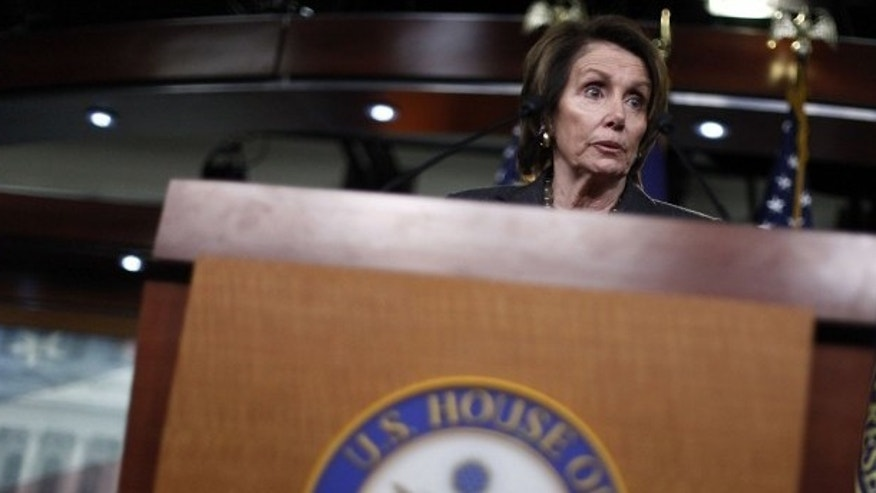 House Minority Leader Nancy Pelosi (D-CA) holds a news conference about pending legislation regarding Department of Homeland Security funding, at the U.S. Capitol in Washington, Feb. 27, 2015. (REUTERS/Jonathan Ernst)