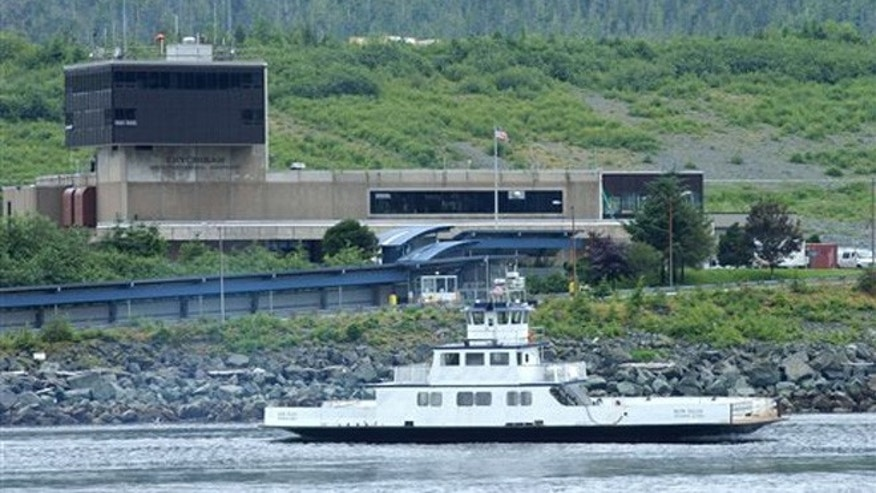 July 17, 2003: In this file photo, the Ketchikan airport ferry Bob Ellis leaves the airport located on Gravina Island in Ketchikan, Alaska.  State transportation department officials have spurned the idea of building a bridge to connect the southeast Alaska community of Ketchikan to its airport on a neighboring island.