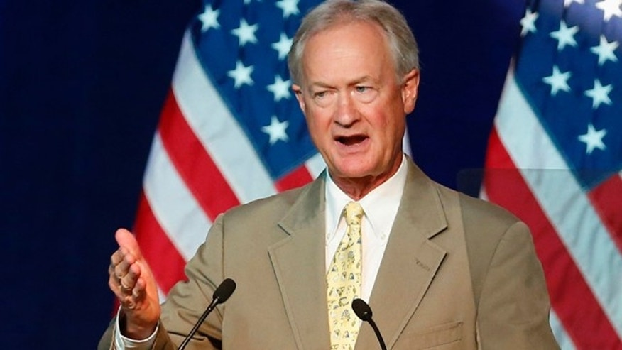 FILE - In this Aug. 28, 2015 file photo, then-Democratic presidential candidate, former Rhode Island Gov. Lincoln Chafee speaks in Minneapolis. (AP Photo/Jim Mone, File)