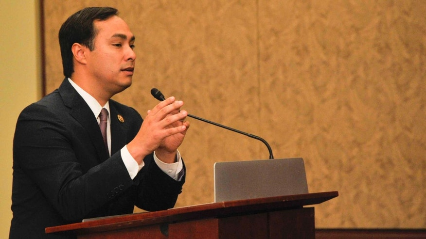 "WASHINGTON, DC- SEPTEMBER 30:  Representative Joaquin Castro(D-TX) speaks during a private screening of ""Food Chains"" in the Capitol Visitors Center on September 30, 2015 in Washington, DC.   (Photo by Kris Connor/Getty Images for ""Food Chains"")"