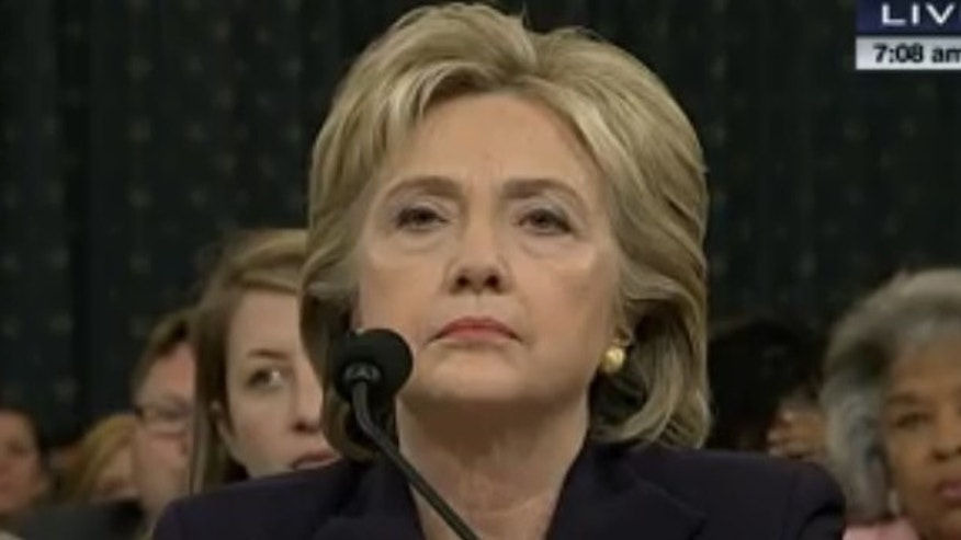 Hillary Clinton testifies to the House Select Committee on Benghazi, Oct. 22, 2015. (Screenshot/C-SPAN)