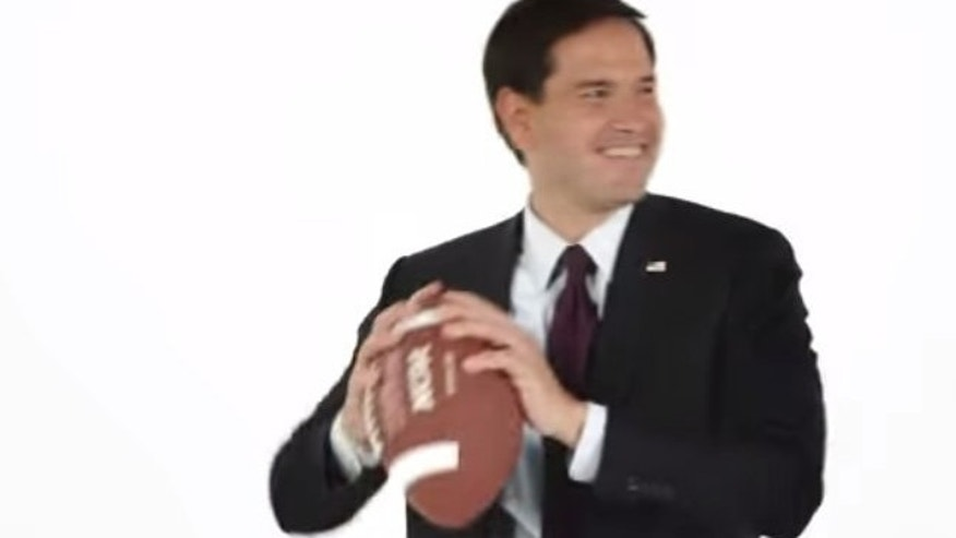 2 Minute Drill: Rubio Answers Questions, Catches Footballs In New Ad (YouTube)