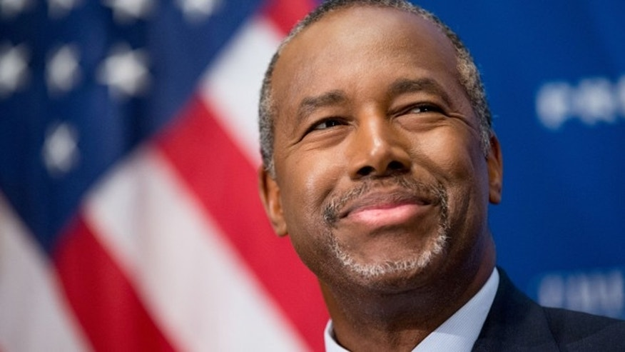 Oct. 9, 2015: Republican presidential candidate Dr. Ben Carson speaks at a luncheon at the National Press Club in Washington. (AP)