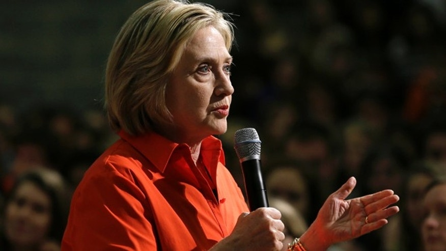 Nov. 3, 2015: Democratic presidential candidate Hillary Rodham Clinton speaks during a town hall meeting at Grinnell College Tuesday in Grinnell, Iowa. (AP)