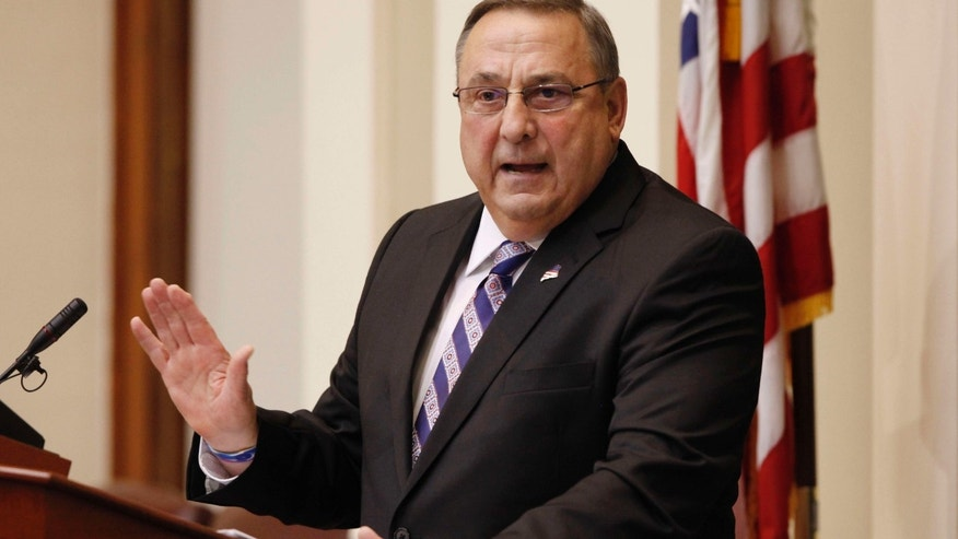 FILE - In this Feb. 3, 2015 file photo, Gov. Paul LePage delivers his State of the State address to the Legislature at the Statehouse in Augusta, Maine.