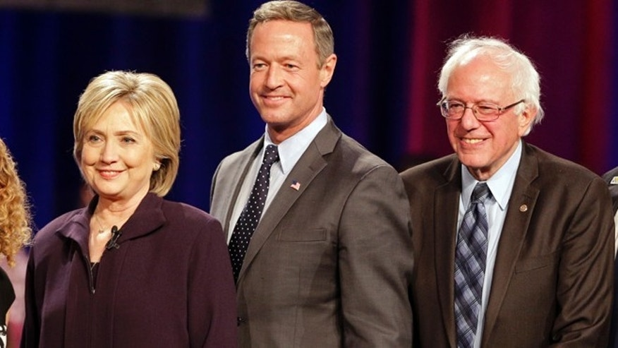 Nov 6., 2015: Democratic presidential candidates Hillary Rodham Clinton, left, former Maryland Gov. Martin O'Malley, center, and Sen. Bernie Sanders, I-Vt, right, pose for a photo after a democratic presidential candidate forum at Winthrop University in Rock Hill, S.C.. (AP)