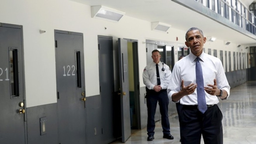 July 16, 2015: President Obama speaks to reporters during his visit to the El Reno Federal Correctional Institution in El Reno, Oklahoma. (Reuters)
