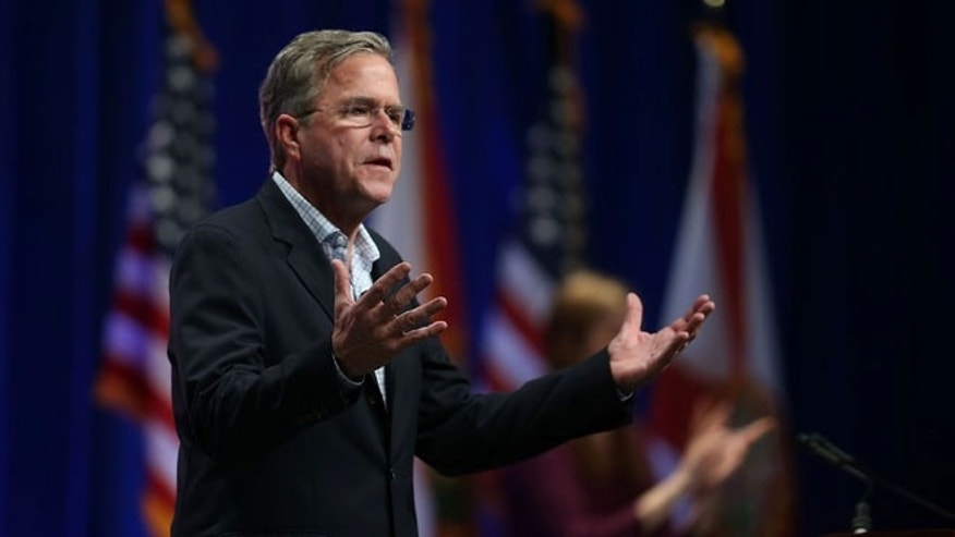 Republican presidential candidate former Florida Gov. Jeb Bush speaks during the Sunshine Summit conference being held at the Rosen Shingle Creek on November 13, 2015 in Orlando, Florida.  The summit brought Republican presidential candidates in front of the Republican voters.  (Photo by Joe Raedle/Getty Images)