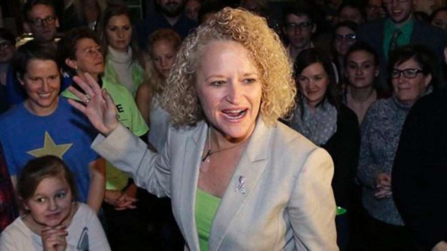 Nov. 3, 2015: Former state lawmaker Jackie Biskupski speaks to supporters at her election night party for Salt Lake City Mayor in Salt Lake City.