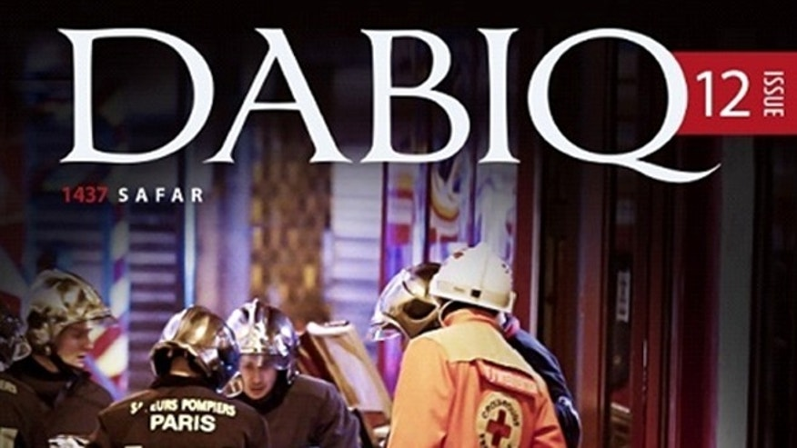 Shown here is the cover of the latest edition of ISIS' online magazine, Dabiq.