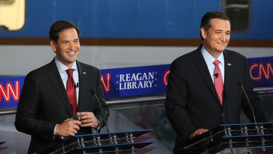 SIMI VALLEY, CA - SEPTEMBER 16:  Republican presidential candidate Marco Rubio and Ted Cruz take part in the presidential debates at the Reagan Library on September 16, 2015 in Simi Valley, California. Fifteen Republican presidential candidates are participating in the second set of Republican presidential debates.  (Photo by Justin Sullivan/Getty Images)