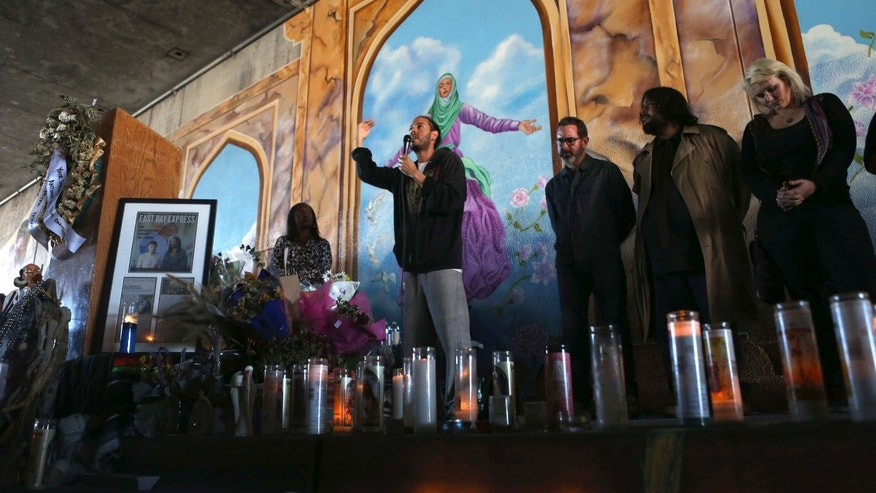 File - In this Oct. 21, 2015 file photo, Leano Ramos, the brother of artist Antonio Ramos, speaks at an unveiling for a mural that his brother worked on in Oakland, Calif.