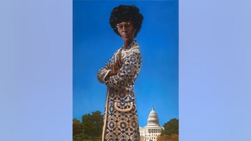 A portrait of former Rep. Shirley Chisholm, D-N.Y.